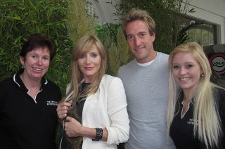 Hazel, Michelle Collins, Ben Fogle and Kayleigh posing for a photograph